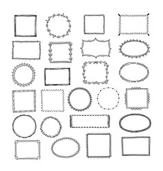 doodle frames square borders sketch lines hand vector image