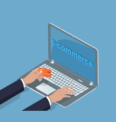E-commerce laptop banking card vector