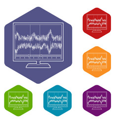 Equalizer monitor icon outline style vector
