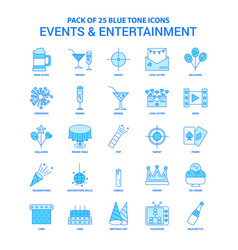events and entertainment blue tone icon pack - 25 vector image