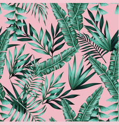 exotic green tropical leaves seamless pattern vector image