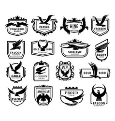 falcons eagles hawks falcons monochrome icons vector image