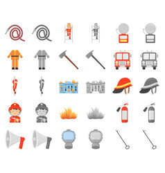 Fire department cartoonmonochrom icons in set vector