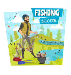 Fishing and fisher big fish catch cartoon poster vector