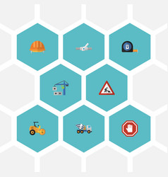 Flat icons steamroller caution cement blender vector