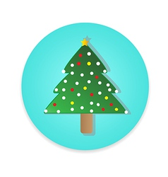Flat long shadow Christmas tree icon isolate vector image