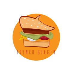 French burger concept with beret hat design vector