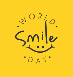 funny emblem design world smile day vector image