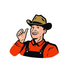 funny farmer farm agriculture farming logo or vector image