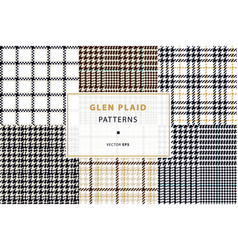glen and houndstooth seamless patterns vector image