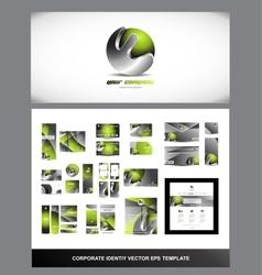 Green metal sphere corporate identity logo vector