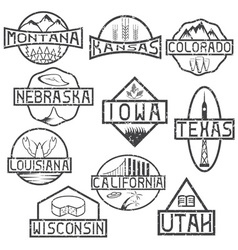 Grunge labels of states and landmarks of usa vector