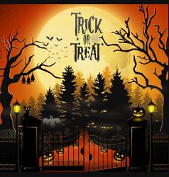 Halloween background with spooky graveyard vector