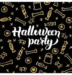 Halloween Party Gold Black Postcard vector image