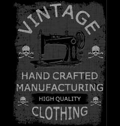 hand drawn typography poster with vintage sewing vector image