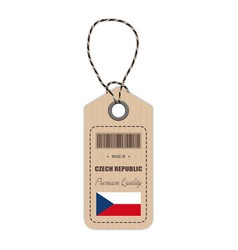hang tag made in czech republic with flag icon vector image