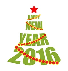 Happy new year 2016 Tree from text Red Star and vector image vector image