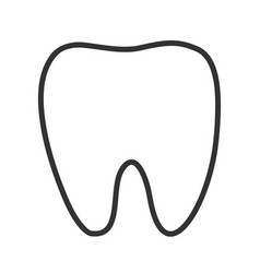healthy white tooth black contour one line vector image