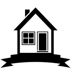 icon with home and black ribbon vector image vector image