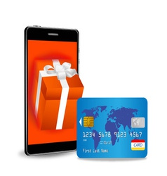 internet shopping with smart phone vector image vector image