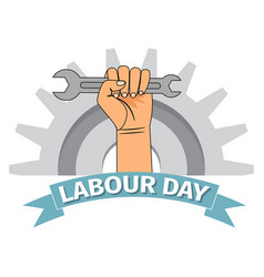 Labour day poster with clenched fist vector