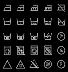 Laundry line icons on black background vector image