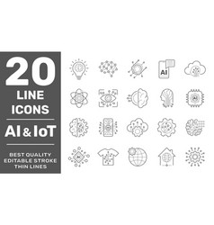 machine learning and ai line icons set vector image