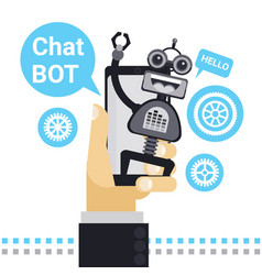 man chatting with chat bot on cell smart phone vector image