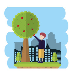 Man grabbing an apple from tree vector