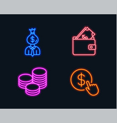 Manager wallet and tips icons buy currency sign vector