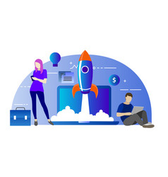 marketing startup with rocket vector image