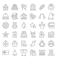 Merry christmas icon set 4 outline editable stroke vector