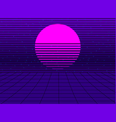 Neon sunset in the style of 80s synthwave retro vector