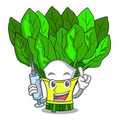 Nurse vegetable spinach on a cartoon plate vector