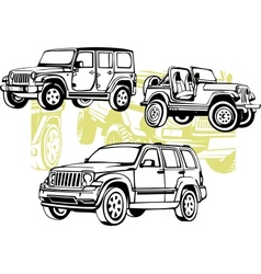 Off-road cars - set vector