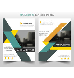 Orange green triangle annual report leaflet vector