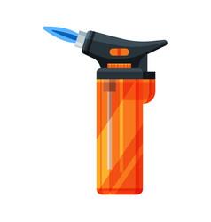 Orange plastic cigarette lighter flammable vector