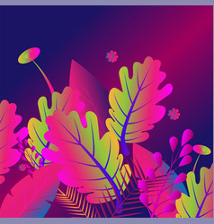 painted tropical exotic leaves abstract colors in vector image