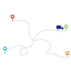 Path car on dotted line dotted trace vector