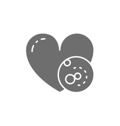 Problems with heart thrombus grey icon vector