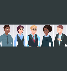 professionals portraits diverse business people vector image