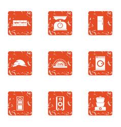 repair pad icons set grunge style vector image