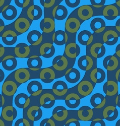 Retro 3D blue green waves and donates vector
