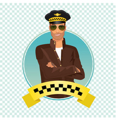 Round icon with unshaved taxi driver vector