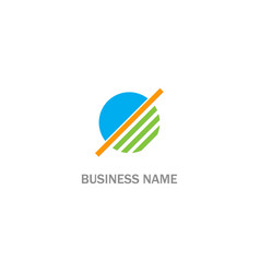 round stripe line technology logo vector image