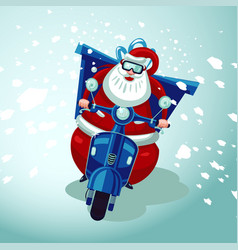 Santa claus riding on a vintage moto bike vector