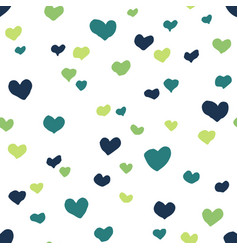 seamless pattern with green hearts vector image