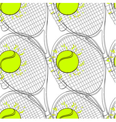Seamless pattern with tennis rackets ball hand vector