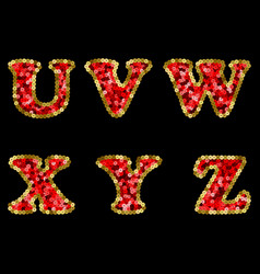 sequin red and gold alphabet part 4 vector image