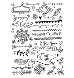 set hand drawing page dividers borders vector image